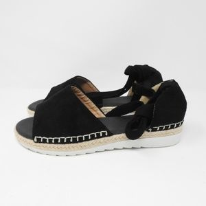 Shoes - Black Suede Sandal Espadrilles Tied Up NWOT